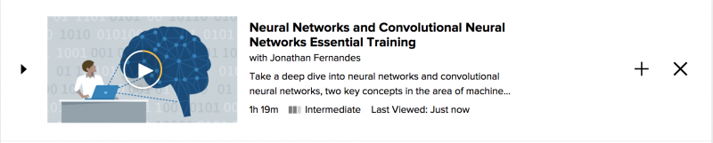 "Screenshot of Lynda.com course entitled ""Neural Networks and Convolutional Neural Networks Essential Training"""
