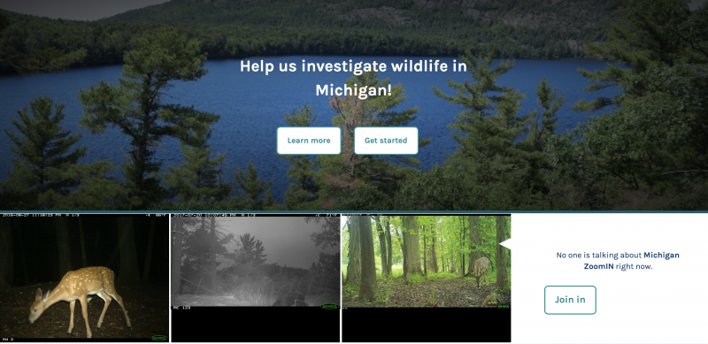 A screenshot of the front page of the Michigan ZoomIn Zooniverse project