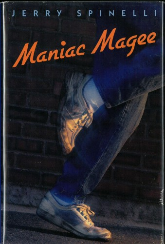 Cover of Maniac Magee, showing running feet in sneakers