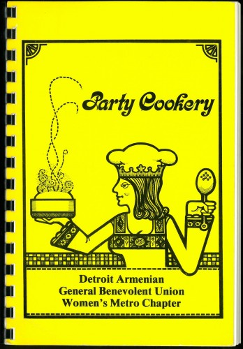 Cover of Party Cookery, showing line drawing of a woman in a chef's hat holding a spooon and a steaming dish, from the waist up