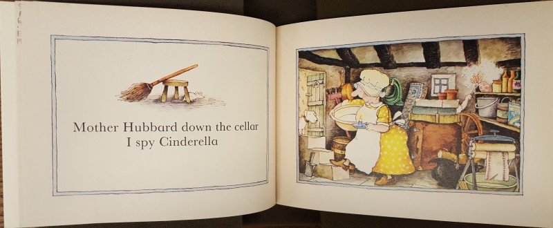 Pagespread with illustration of Mother Hubbard in a cellar, with Cinderella's hand popping out from behind a cabinet, holding a featherduster