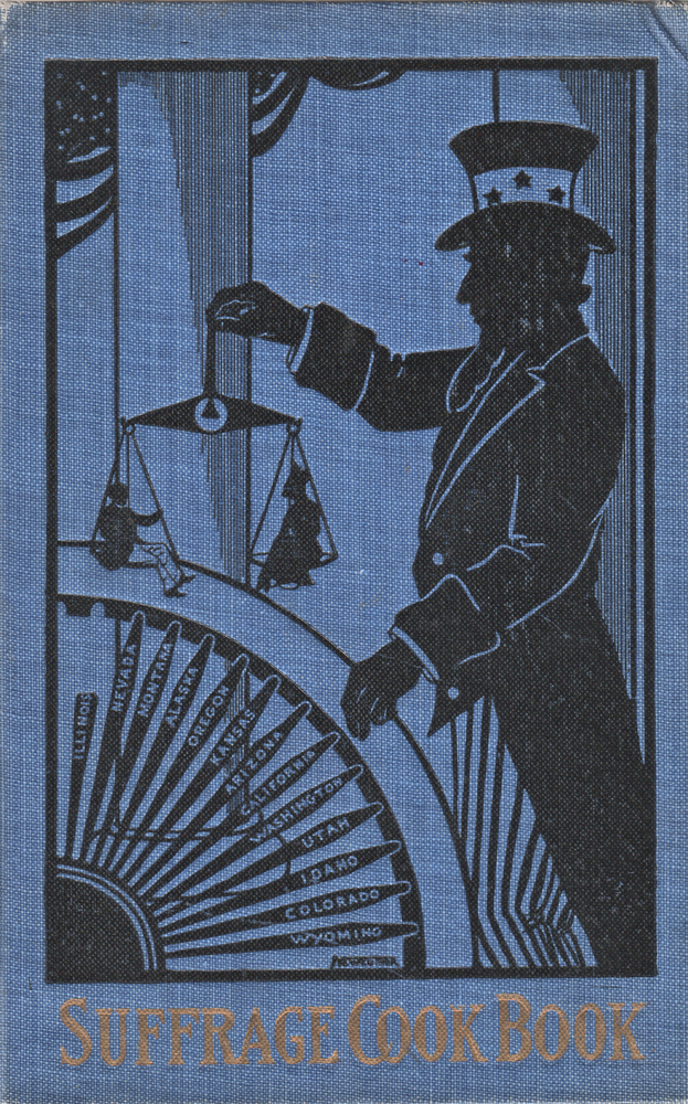 Book cover with an image of Uncle Sam weighing a man and a woman in an old-fashioned scale. He is also handling a wheel with spokes bearing the names of states