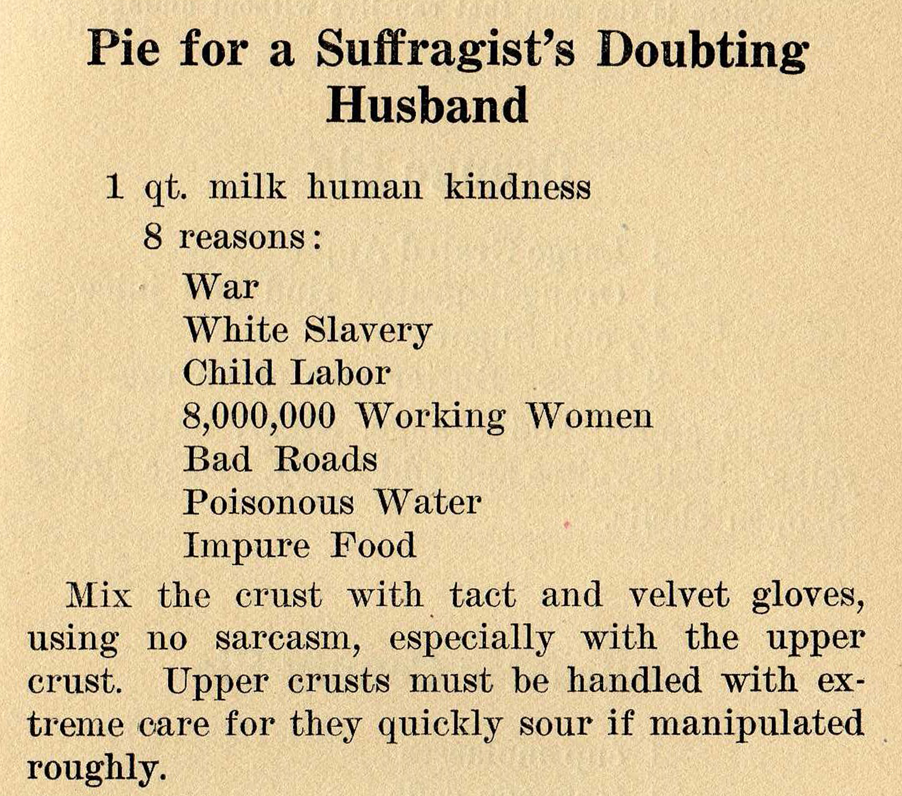 A satirical pie recipe. Text in the blog post above