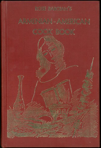Cover of book - red with a line-drawing in gold of a woman standing before various foods on a table.