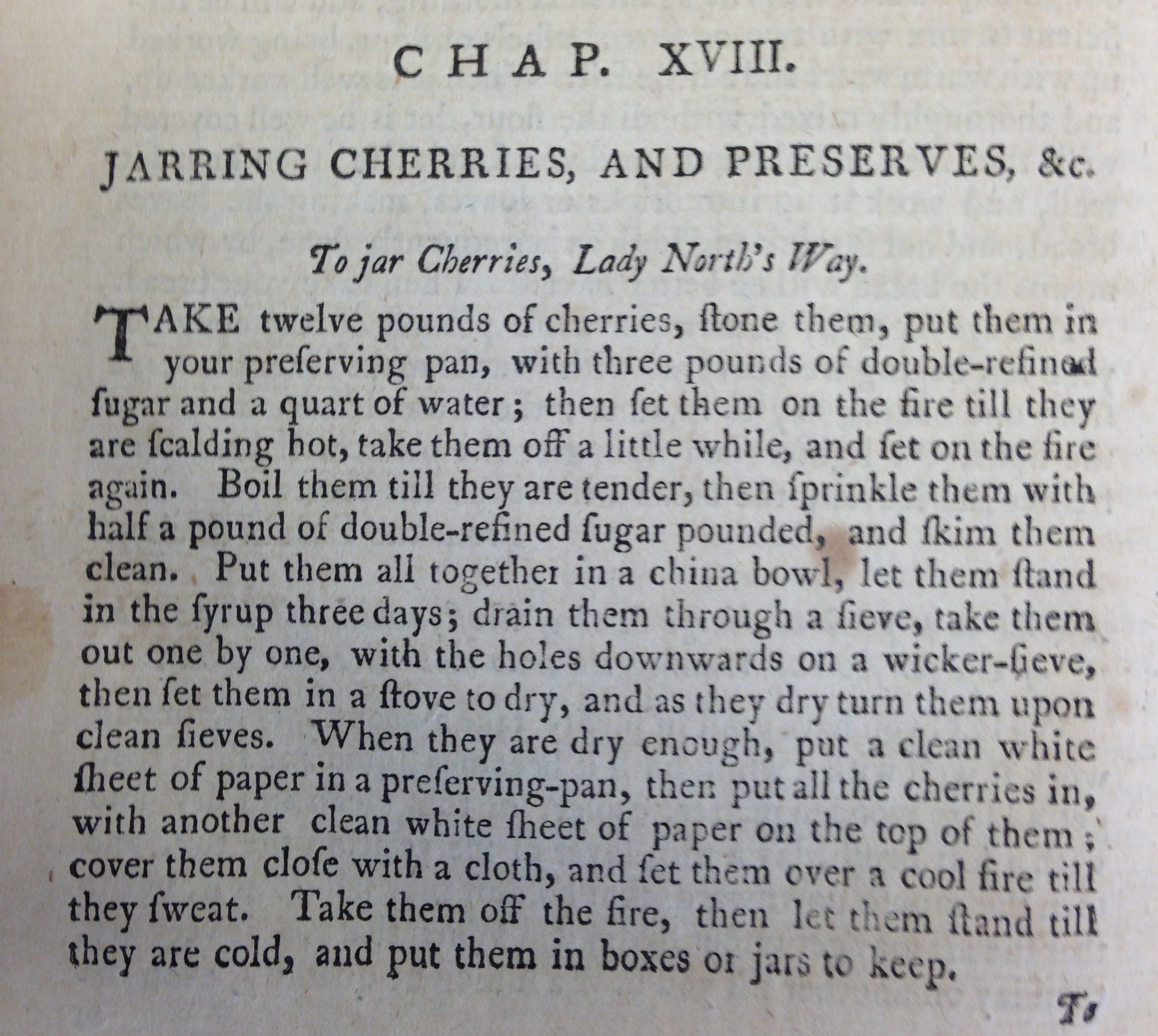"Recipe for ""To jar cherries, Lady North's Way"""
