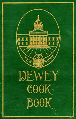 Cover of The Dewey Cook Book, green with gold lettering and decorations.