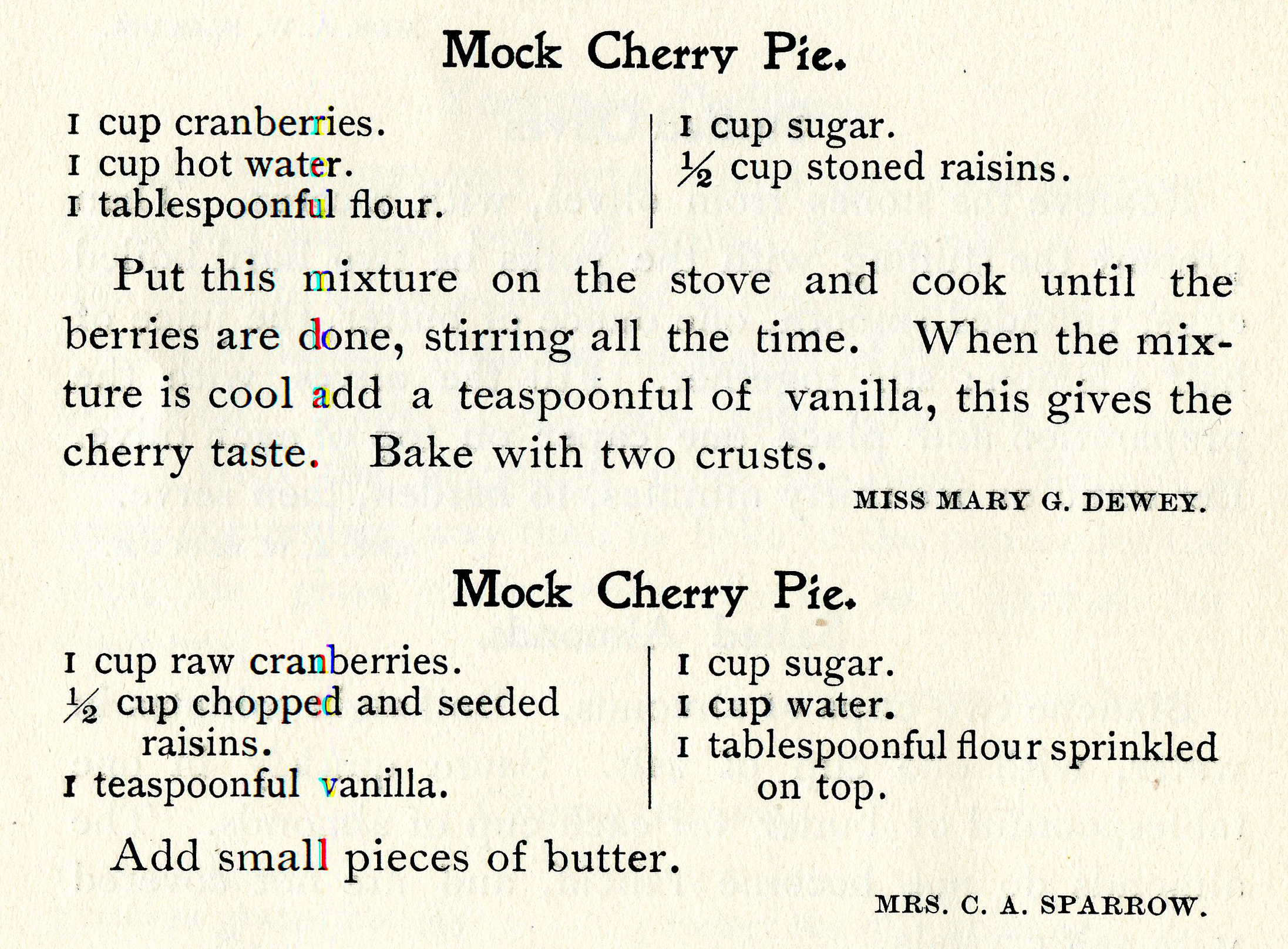 Two recipes for mock cherry pie