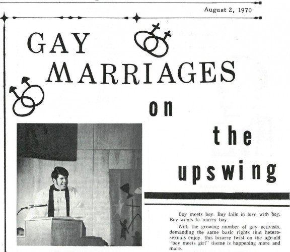 "cover article: ""Gay marriages on the upswing"""