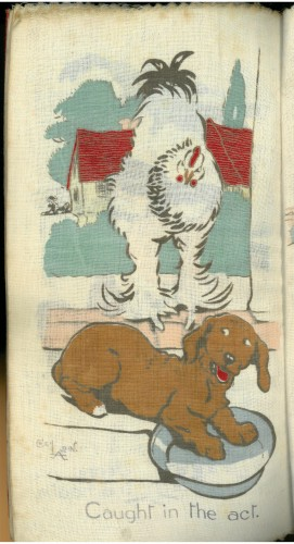 Rag book illustration of a White Wyandotte cochin chicken discovering a small brown daschund eating its food