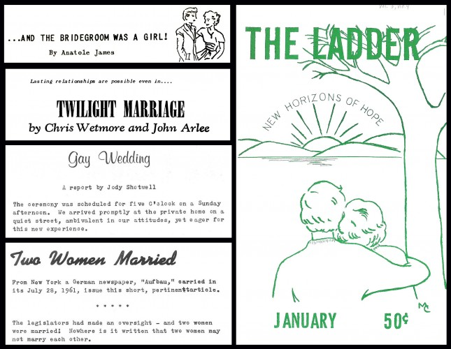 Compilation of articles referencing same sex marriages from midcentury gay and lesbian magazines