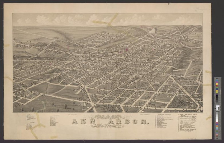 A bird's-eye view of Ann Arbor, MI in 1880. This is one of over 30 large format bird's-eye views that were digitized as a part of this project.