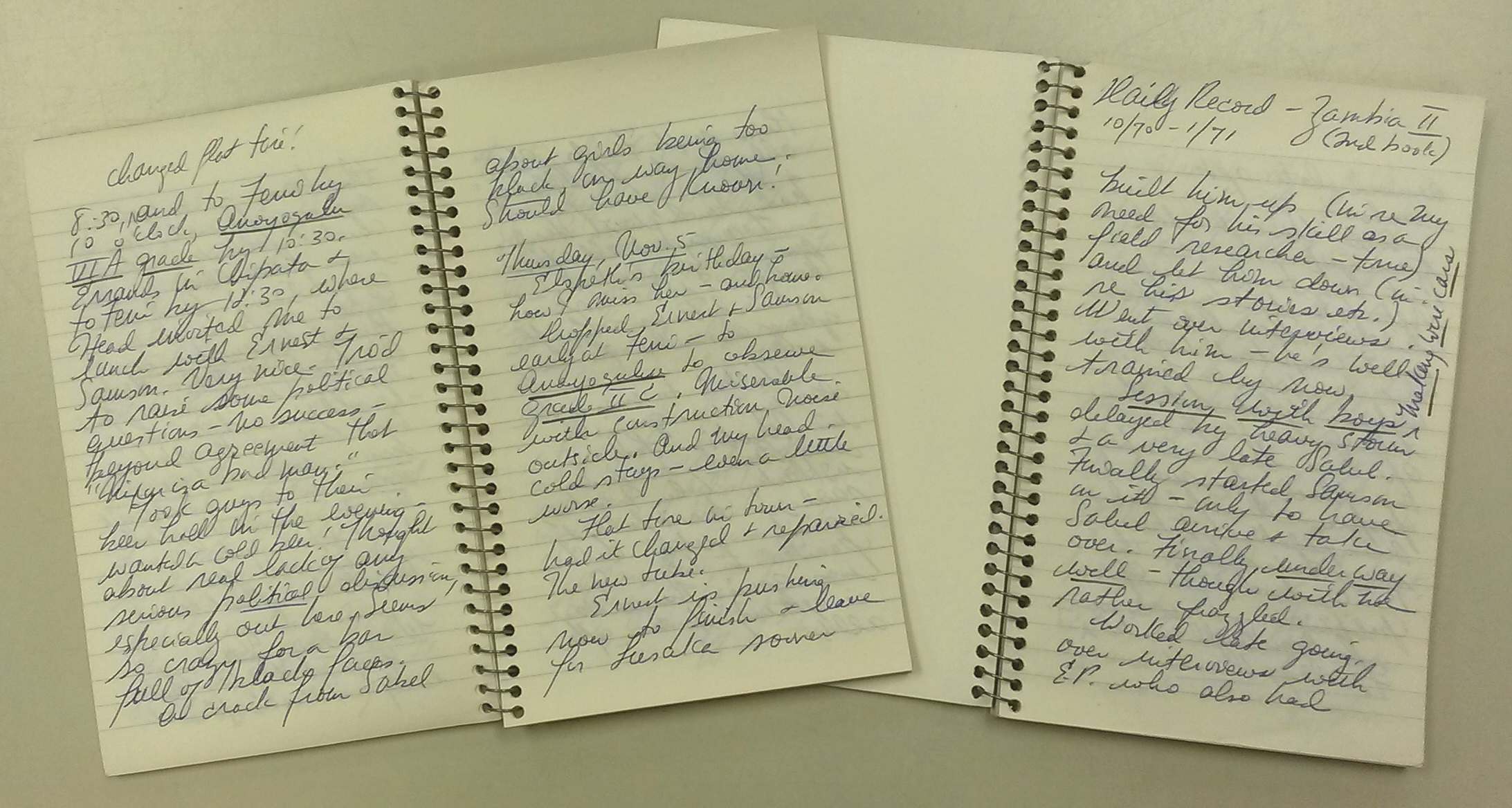 Observations from Leacock's Zambia fieldwork in two lined notebooks.