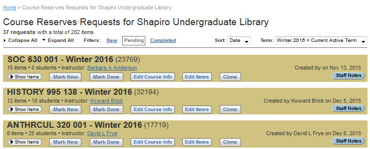 Course Reserves list for Shapiro Undergraduate Library