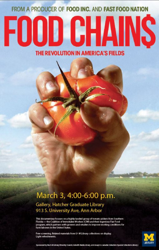 Poster for Screening Event: Food Chains documentary