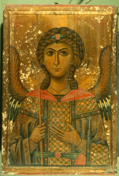 Saint Gabriel painted on panel