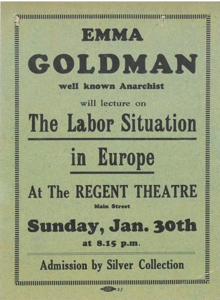 Emma Goldman lecture advertisement