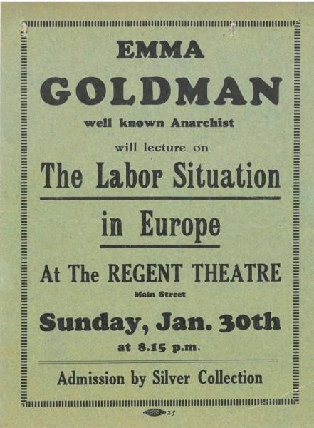 Emma Goldman lecture advertisement