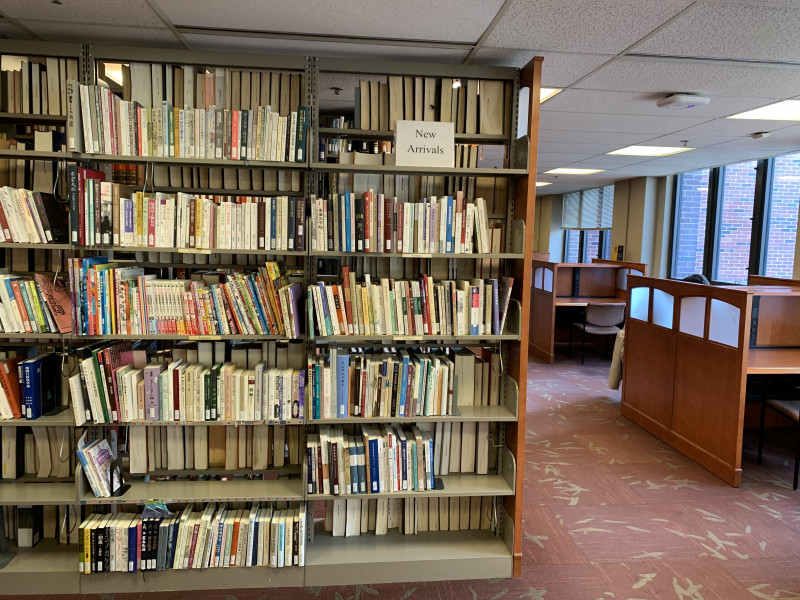 Photograph of new arrivals bookshelf at Asia Library