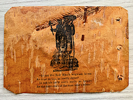 Image of a Native American man printed in black ink on a page from Simon Pokagon's birch bark booklet, The Red Man's Rebuke.