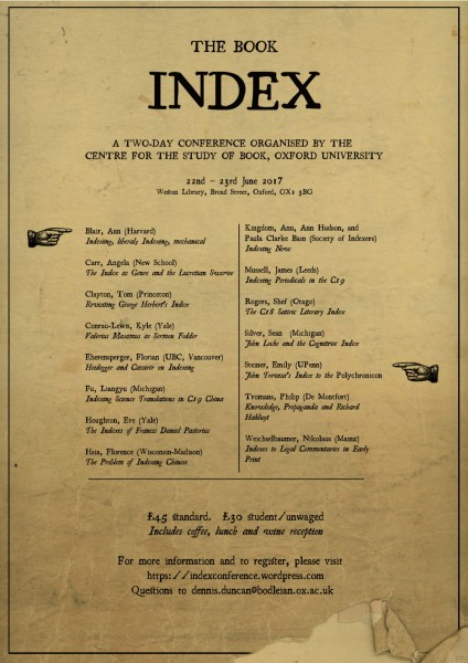Program poster for the Book Index conference