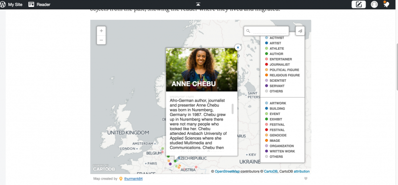 Display of pop up text of map pin for Afro-German author Anne Chebu.