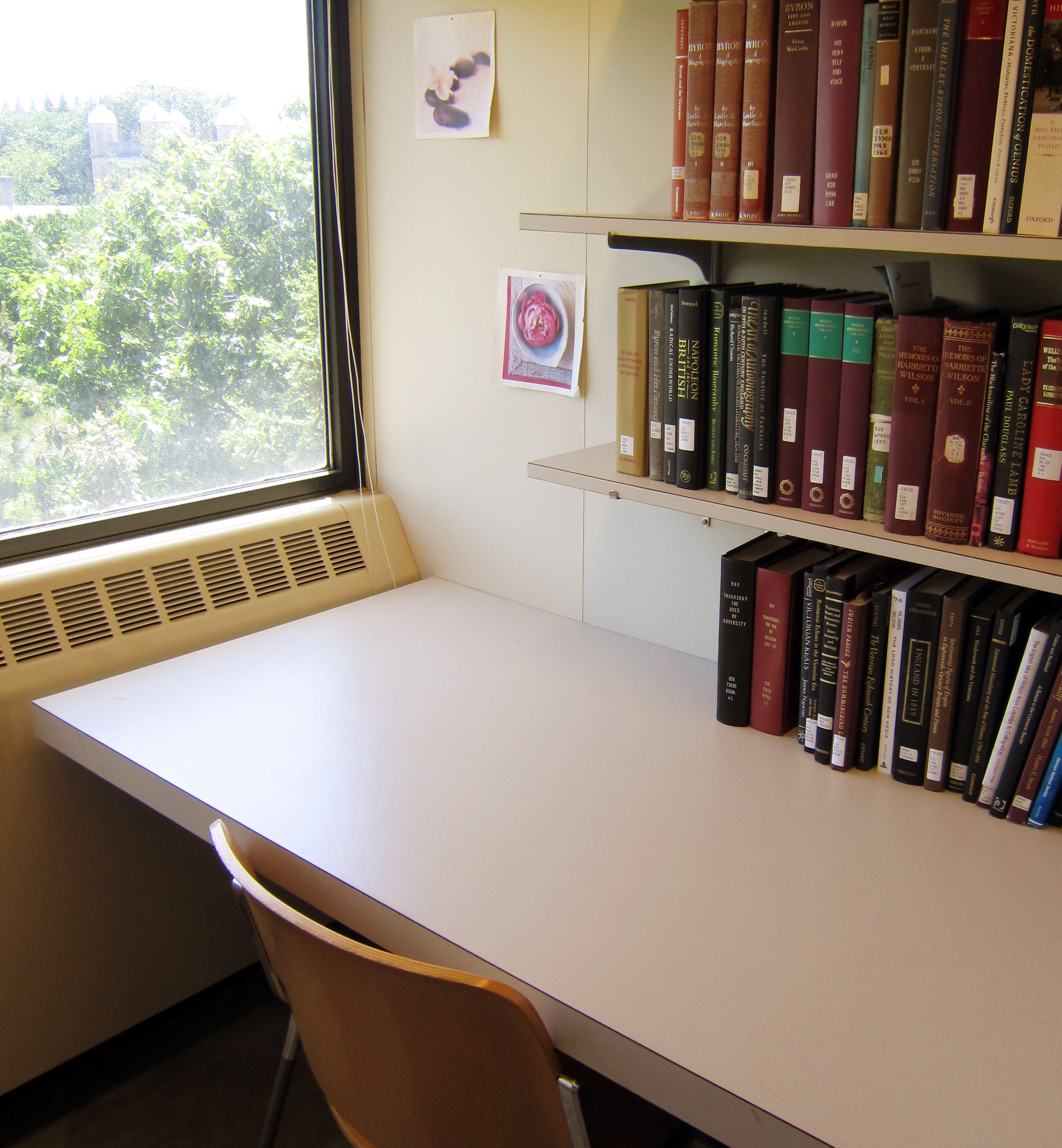 Hatcher carrel desk with chair and bookshelves
