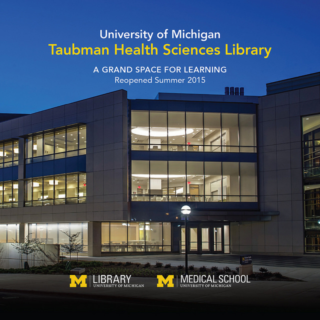 Renovated Taubmahn Health Sciences Library at evening
