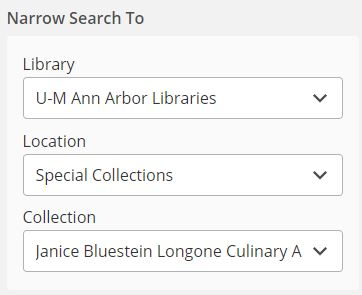 Screen shot of advanced search options.