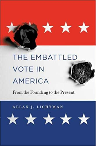 "Red white and blue background like American Flag with white starts at top and bottom. Two of what appear to be burns or bullet holes through this background and title on white text, ""The embattled vote in America: from founding to the present."""