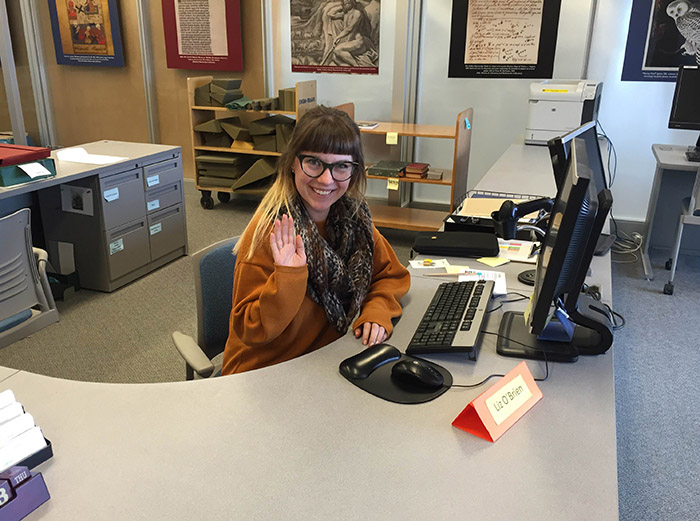 Liz welcoming visitors to Special Collections Reading Room