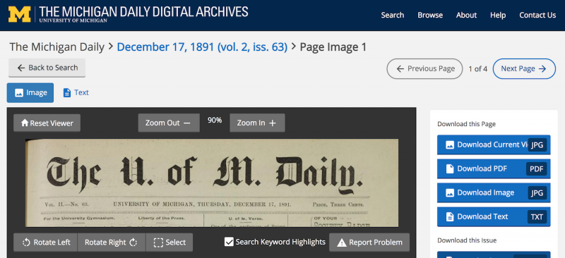 screenshot of michigan daily digital archive interface