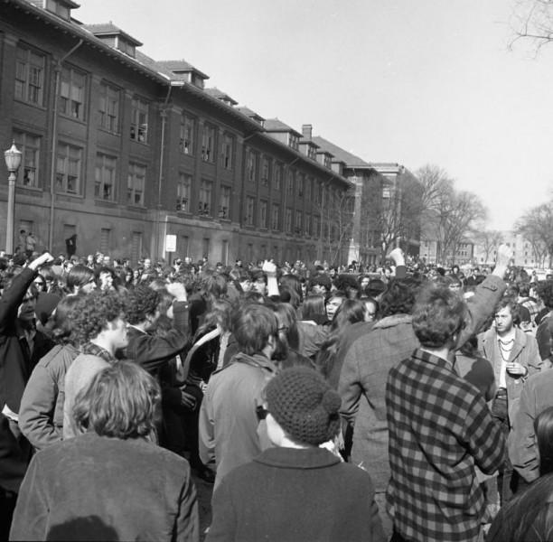 Student Demonstrators between Engineering Buildings, February 18, 1970