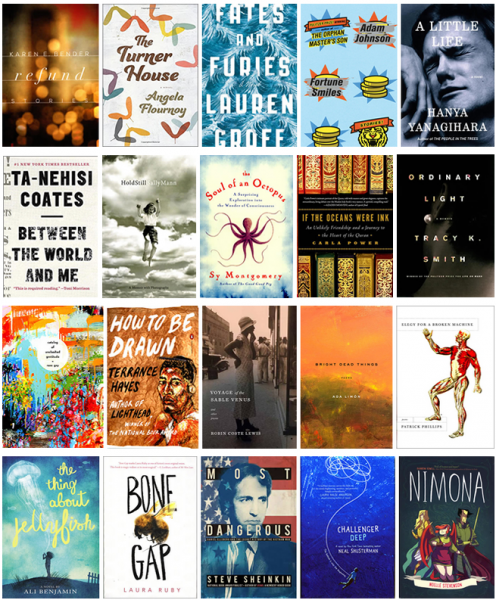 collage of the book covers of the National Book Awards Shortlist