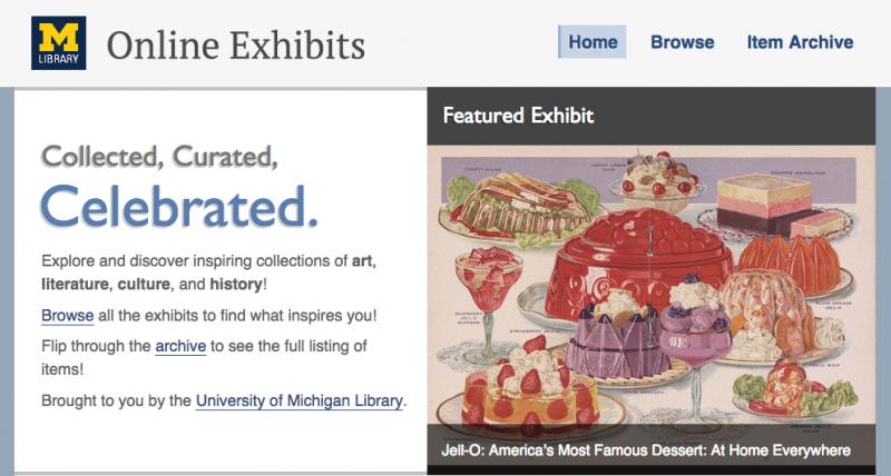 Screenshot of University of Michigan Online Exhibits Homepage