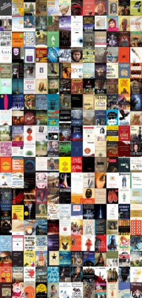A collage of book covers, representing titles shared by students at the Party for your Mind.