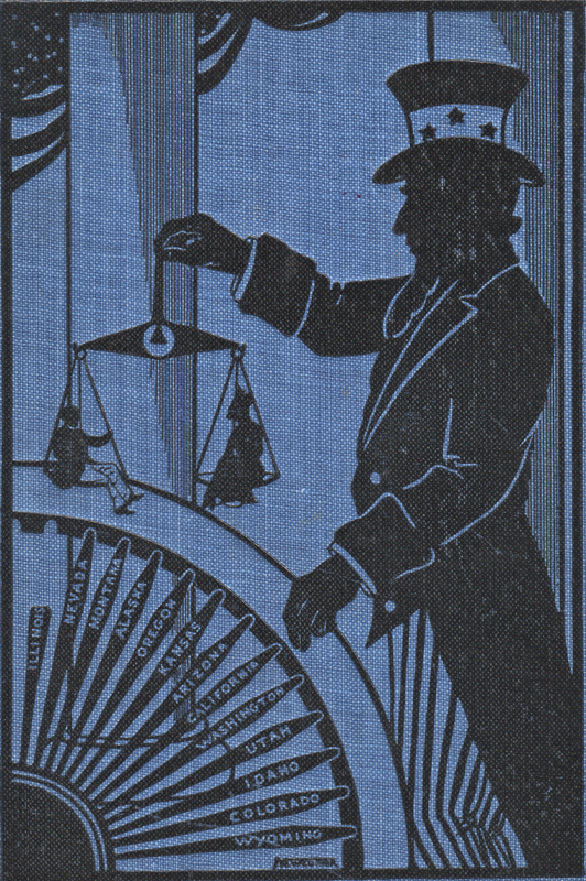 Book Cover with an image of Uncle Sam weighing a man and a woman in an old-fashioned scale.