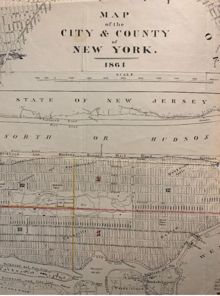 Image of map of New York from 1861