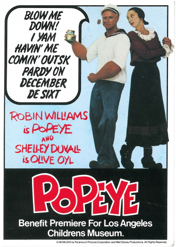 Invitation to the premiere of the film Popeye (1980)