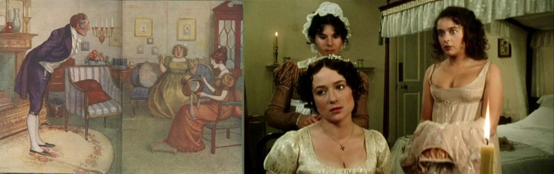 Side-by-side images of an early 20th c. illustration of Pride and Prejudice characters in a formal drawing room, and a still from the 1990s BBC miniseries showing Elizabeth and Lydia getting ready for the ball in a bedroom