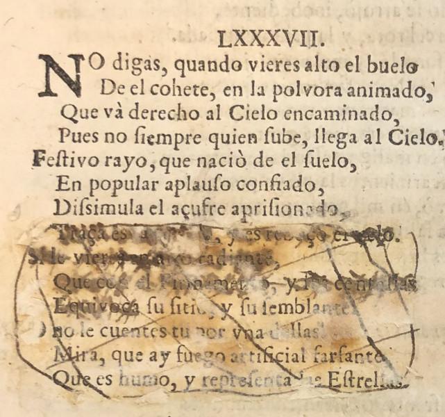 An expurgated sonnet on page 73,  from Francisco de Quevedo y Villegas. El Parnaso español y musas castellanas (Barcelona: Rafael Figueró, 1703)