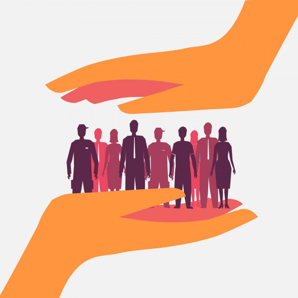 Image of a drawing with two hands, with a hand on top cupping a group of people standing on the bottom hand.