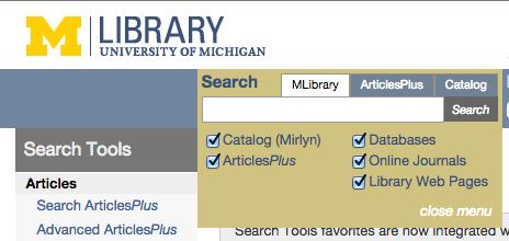 University of Michigan Library search