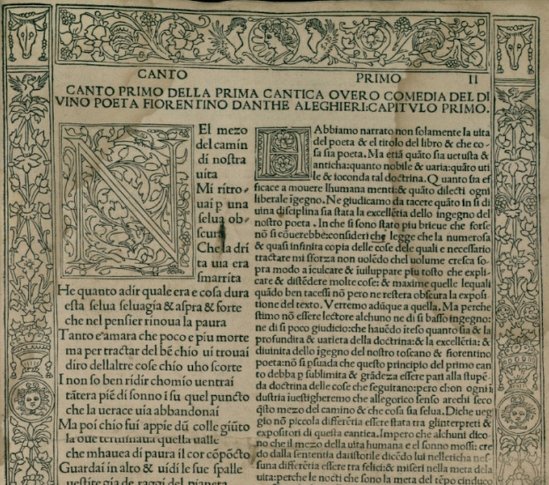 Page from early printed edition of Dante's Divine Comedy with an elaborate border and capital N.