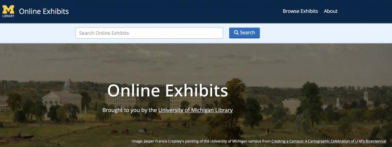 Screen shot of online exhibits site