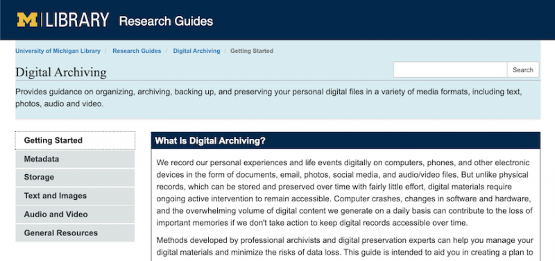 The landing page of the Digital Archiving Research Guide showing a brief introduction and content menu