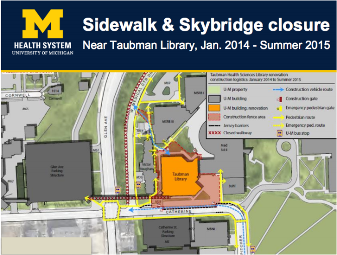 UMHS Sidewalk and Skybridge Closure Map