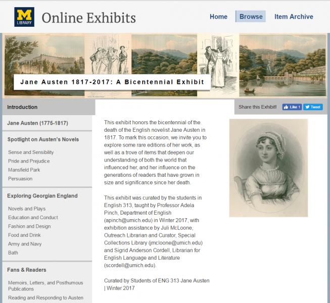 Screenshot of the online exhibit