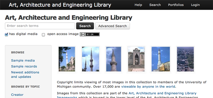 screen shot of AAEL Digital Images search page