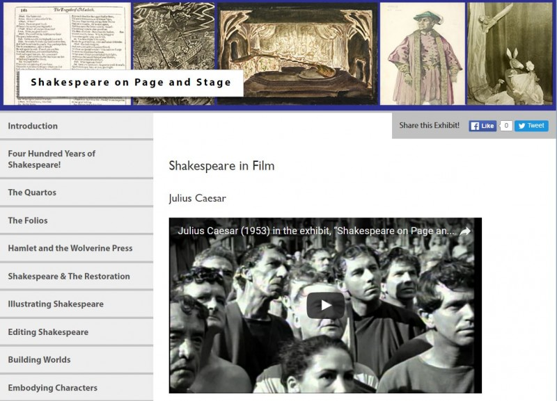 Screen capture of the interface of the online exhibit: Shakespeare on Page and Stage: A Celebration
