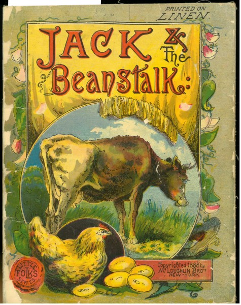 Cover illustration featuring a cow in the center, with an inset image of the chicken that lays golden eggs.